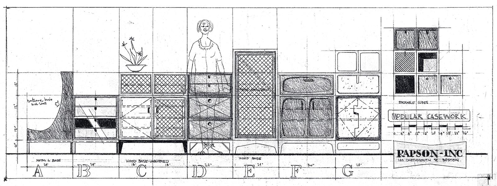 Ralph Rapson modular casework sketch