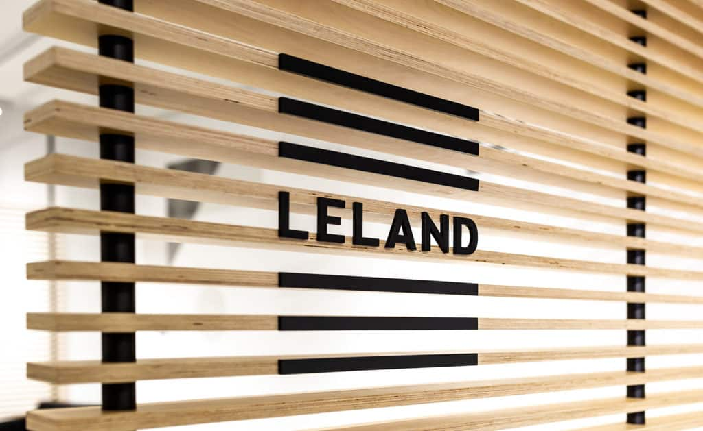 Leland Logo on Slats